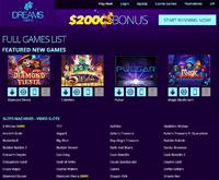 Dreams Casino Games Page